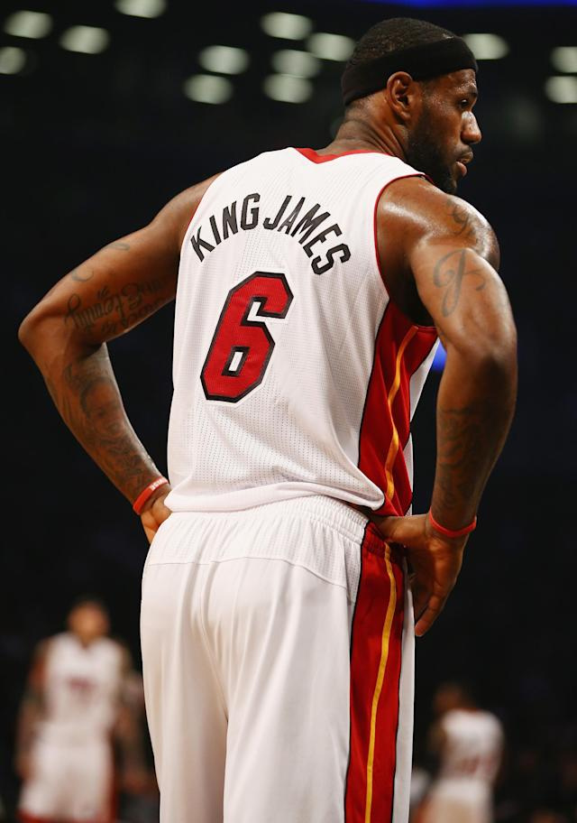 NEW YORK, NY - JANUARY 10: LeBron James #6 of the Miami Heat is seen with his nickname King James on the back of his jersey against the Brooklyn Nets during their game at the Barclays Center on January 10, 2014 in New York City. NOTE TO USER: User expressly acknowledges and agrees that, by downloading and or using this photograph, User is consenting to the terms and conditions of the Getty Images License Agreement. (Photo by Al Bello/Getty Images)