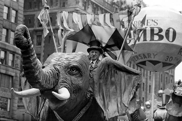 Comedian Jimmy Durante rides on a Jumbo the elephant float during the annual Macy's Thanksgiving Day Parade in New York City on Nov. 22, 1962. (Photo: AP)