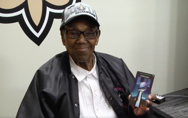 108-year-old Saints fan Lawrence Brooks. (Facebook/New Orleans Saints)