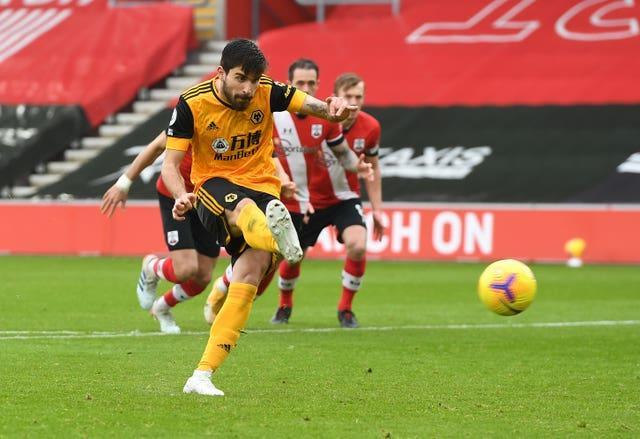 Ruben Neves levelled from the controversial penalty for Wolves