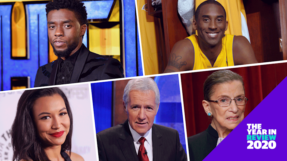 Chadwick Boseman, Kobe Bryant, Ruth Bader Ginsburg, Alex Trebek and Naya Rivera are a few of the celebrities who died in 2020. (Photo: Getty/Design: Nathalie Cruz and Quinn Lemmers for Yahoo Life)