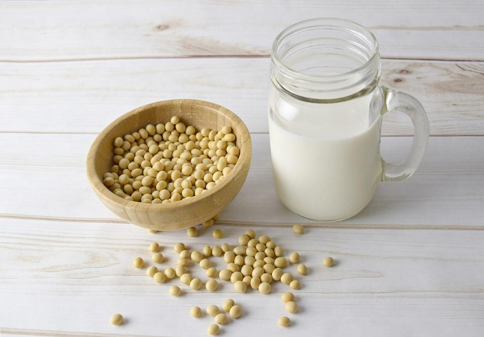 One cup of unsweetened, original soy milk has 110 calories, 8 grams of protein and considerable levels of calcium and vitamin D. Soy milk also has small amounts of iron and offers nearly 50% of the daily recommended value of B12, which is generally lacking for vegans and in many plant-based diets. Soy milk is cholesterol-free and low in saturated fat. It is one of few non-dairy milks with a comparable protein content to cow's milk.