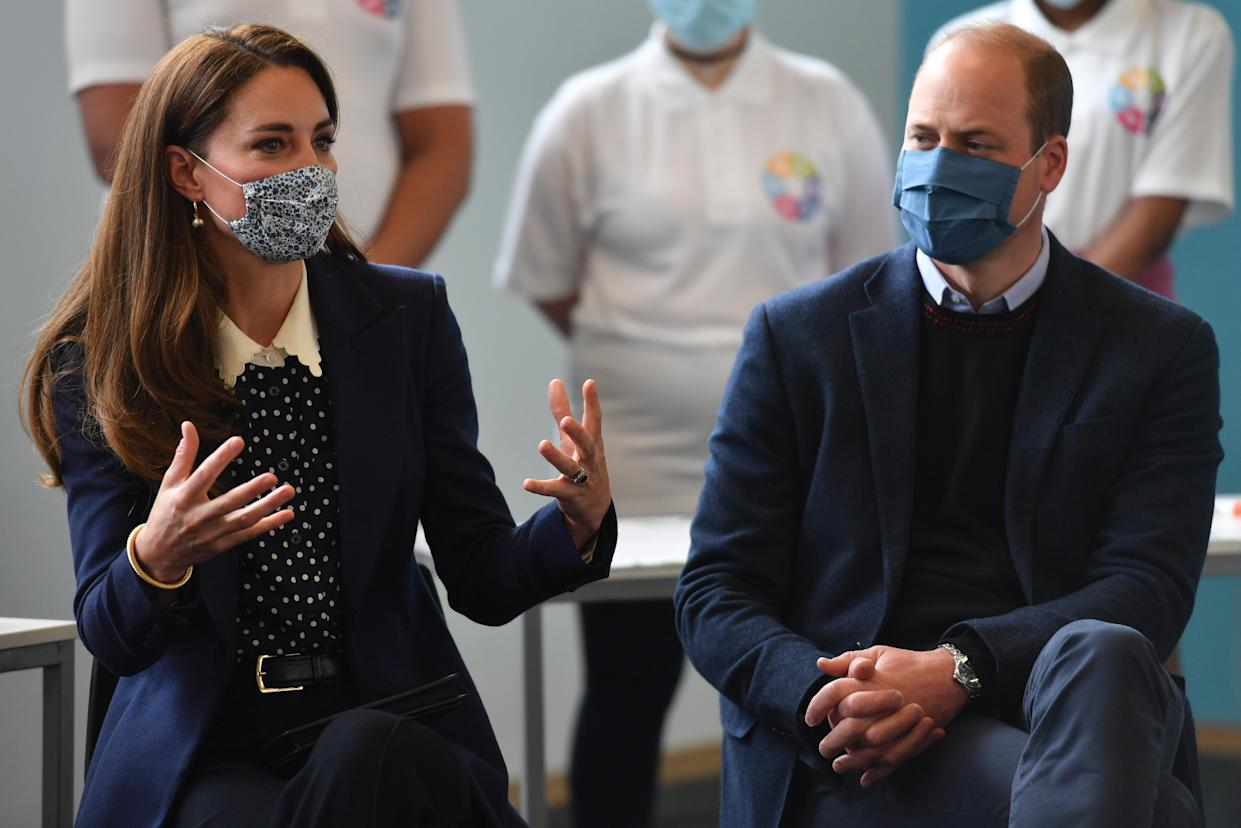 The Duke and Duchess of Cambridge at a mental health and wellbeing session during a visit to The Way Youth Zone in Wolverhampton, West Midlands. Picture date: Thursday May 13, 2021.