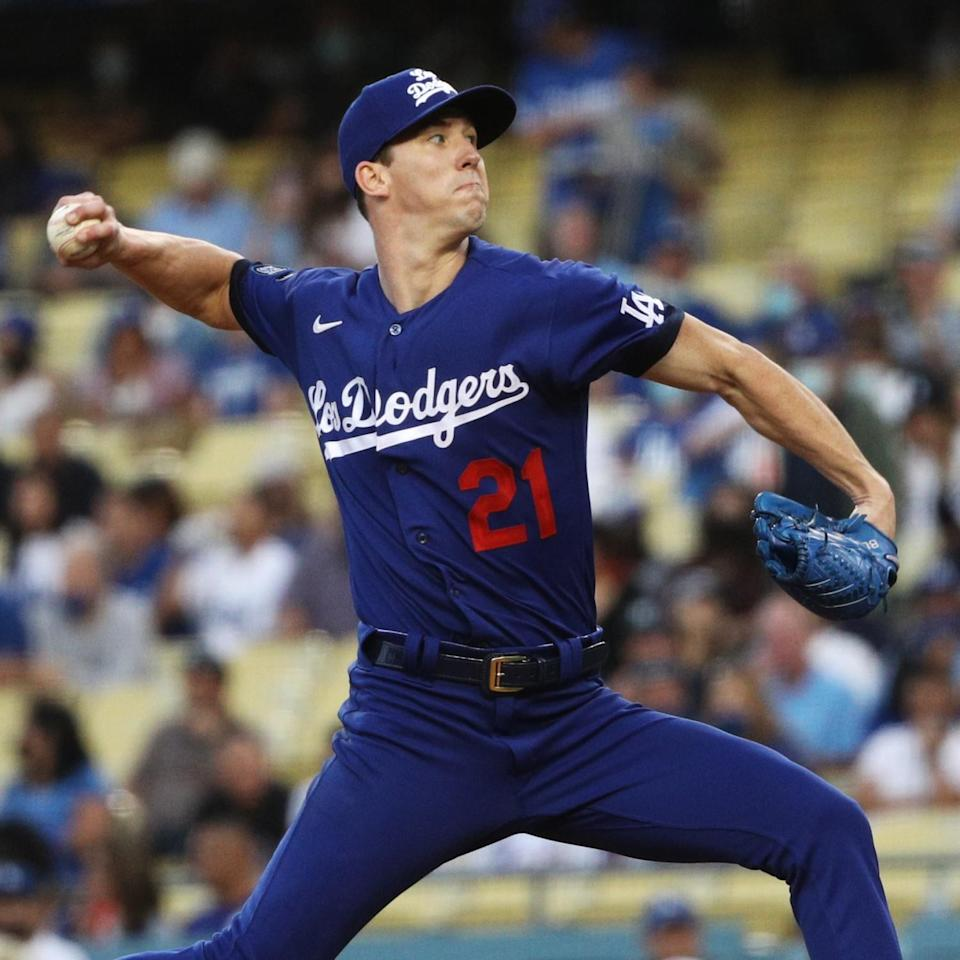 Dodgers pitcher Walker Buehler pitches against the New York Mets.