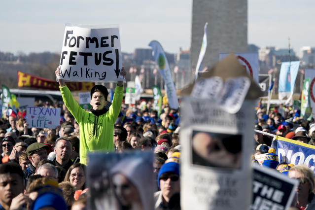 <p>Anti-abortion activists rally on the National Mall in Washington, Friday, Jan. 19, 2018, during the annual March for Life. (Photo: Andrew Harnik/AP) </p>