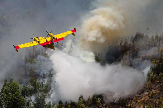 <p>A Spanish Canadair fire fighting aircraft drops water over the Pedrogao Grande forest fire, in central Portugal, June 18, 2017. (Miguel A. Lopes/EPA/Rex/Shutterstock) </p>