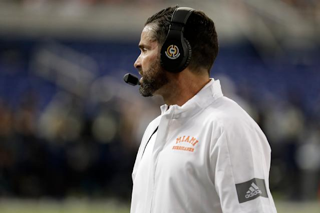 Miami coach Manny Diaz watches during the first half of the team's NCAA college football game against Florida International, Saturday, Nov. 23, 2019, in Miami. FIU won 30-24. (AP Photo/Lynne Sladky)