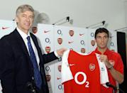 Reyes signed for Arsenal on January 30, 2004 in London. (Photo by John Stillwell-Pool/Getty Images)