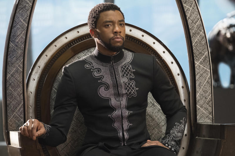 """This image released by Disney shows Chadwick Boseman in a scene from Marvel Studios' """"Black Panther.""""    The Walt Disney Co. estimated Saturday, Feb. 17, 2018,  the Marvel Comics superhero movie earned $75.8 million domestically for its opening Friday, the eighth biggest day in industry history. (Matt Kennedy/Marvel Studios-Disney via AP)"""