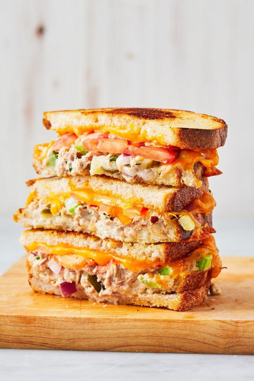 """<p>Pickles make this just a little more exciting than the usual.</p><p>Get the recipe from <a href=""""https://www.delish.com/cooking/recipe-ideas/a26146096/tuna-melt-recipe/"""" rel=""""nofollow noopener"""" target=""""_blank"""" data-ylk=""""slk:Delish"""" class=""""link rapid-noclick-resp"""">Delish</a>.</p>"""