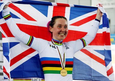 FILE PHOTO: Cycling - UCI Track World Championships - Women's Omnium Races, Final - Hong Kong, China - 14/4/17 - Britain's Katie Archibald celebrates with gold medal. REUTERS/Bobby Yip/File Photo