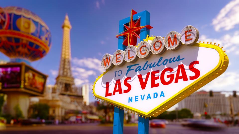 The well-known famous Las Vegas sign  in front of the Blurred Background.