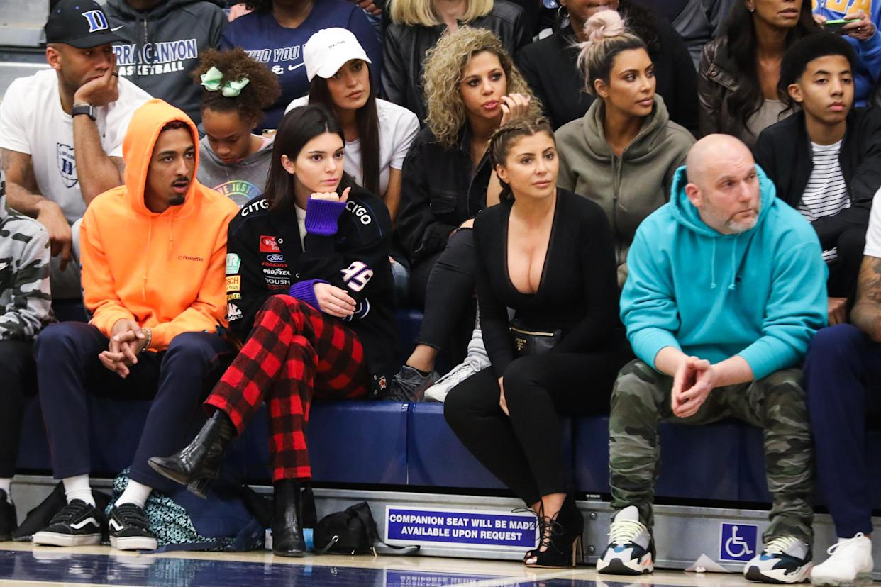 Kim Kardashian, Kendall Jenner and Larsa Pippen at a Sierra Canyon basketball game in 2018, watching Scotty Pippen Jr. (Cassy Athena/Getty Images)