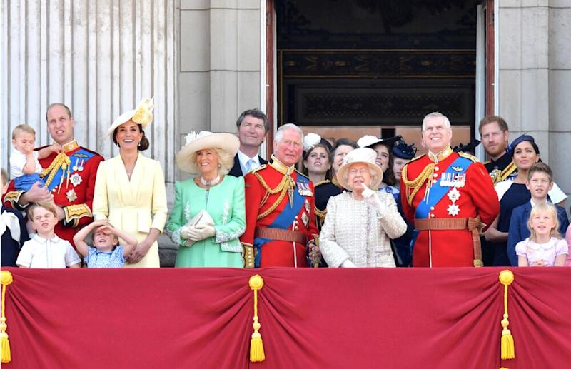 The royal family watches a fly-past of aircraft by the Royal Air Force during the ceremony of Trooping the Colour in London on June 8, 2019. | DANIEL LEAL-OLIVAS/AFP/Getty Images