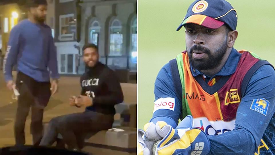 Wicketkeeper Niroshan Dickwella is one of three players sent home from England by Sri Lanka for breaking the bio-secure bubble. Pictures: Twitter/Getty Images