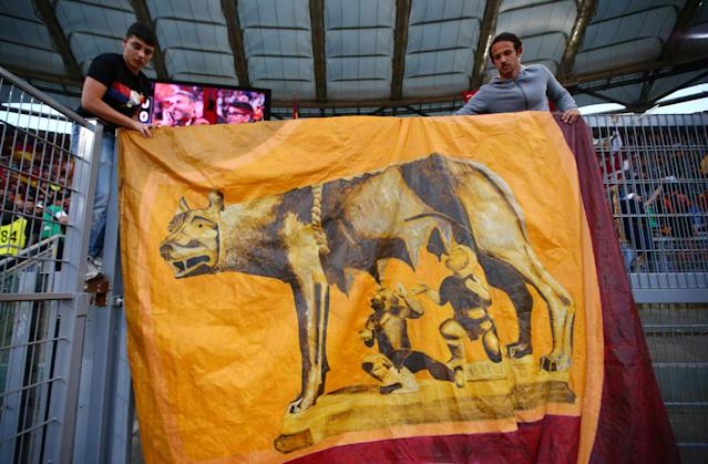 Soccer Football - Champions League Semi Final Second Leg - AS Roma v Liverpool - Stadio Olimpico, Rome, Italy - May 2, 2018 Roma fans display a banner REUTERS/Tony Gentile