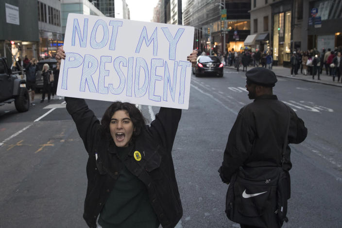 <p>Protestors march up Madison Ave after breaking off from a rally outside Trump Tower against the election of President-elect Donald Trump, Saturday, Nov. 12, 2016, in New York. (AP Photo/Mary Altaffer) </p>