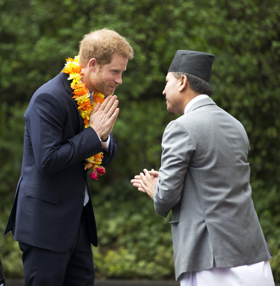 Britain's Prince Harry (L) arrives for a ceremony at the Embassy of Nepal in London on March 20, 2017.   Prince Harry attended a ceremony marking the conclusion of celebrations for the bicentenary of bilateral relations between the United Kingdom and Nepal, by the Nepali calendar.  / AFP PHOTO / POOL / Philip Coburn        (Photo credit should read PHILIP COBURN/AFP via Getty Images)