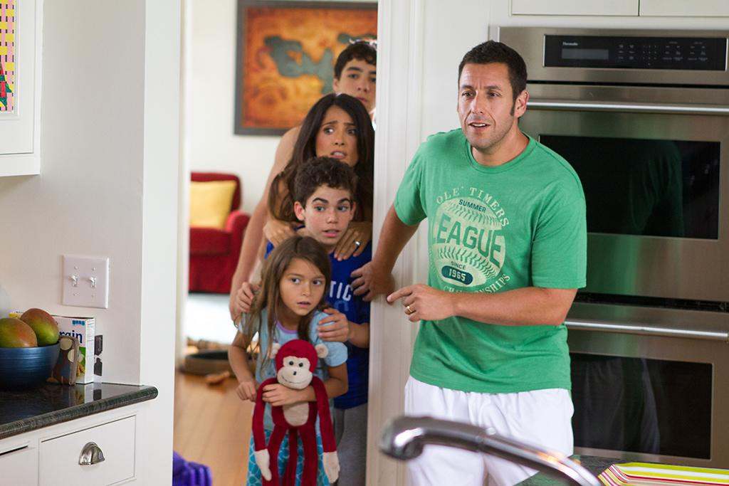 Greg Feder (Jake Goldberg), Roxanne Feder (Salma Hayek), Keithie Feder (Cameron Boyce), Becky Feder (Alexys Nycole Sanchez) and Lenny Feder (Adam Sandler) in their home in Columbia Pictures' GROWN UPS 2.