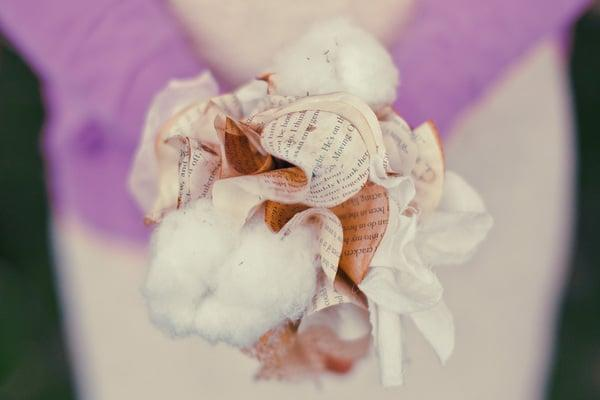 <p>A blend of cotton and book pages make for a dreamy and unusual bouquet alternative. </p>
