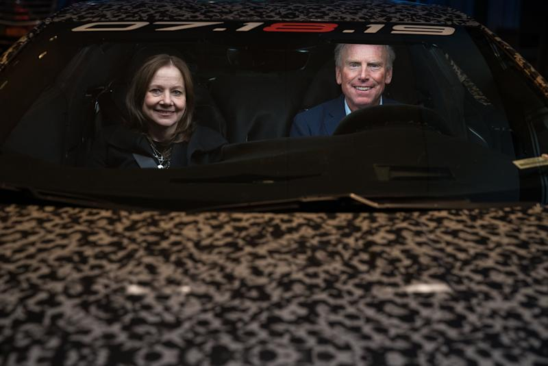 General Motors Chairman and CEO Mary Barra and Corvette Chief Engineer Tadge Juechter inside a camouflaged next generation Chevrolet Corvette Thursday, April 11, 2019 in New York, New York. The next generation Corvette will be unveiled on July 18. (Photo by Todd Plitt for Chevrolet)
