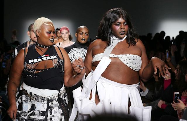 <p>Plus size models walk at the Gypsy Sport FW18 show. (Photo: Getty) </p>