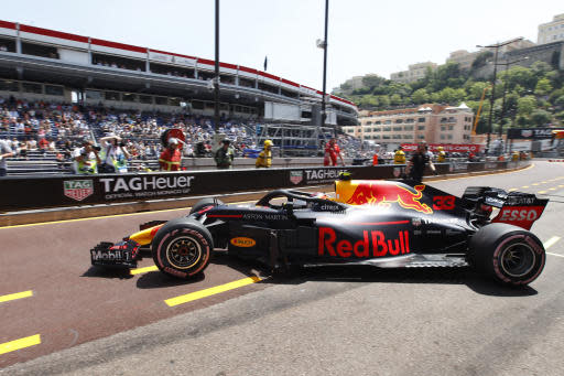 Red Bull driver Max Verstappen of the Netherlands steers his car in the pit lane during the third free practice at the Monaco racetrack, in Monaco, Saturday, May 26, 2018. The Formula one race will be held on Sunday. (AP Photo/Claude Paris)