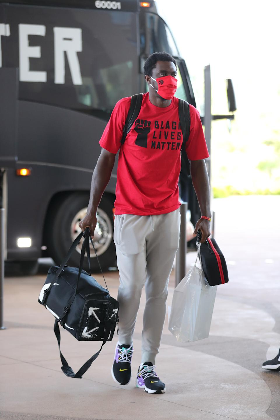Pascal Siakam #43 of the Toronto Raptors arrives at the hotel as part of the NBA Restart 2020 on July 9, 2020 in Orlando, Florida. (Photo by Joe Murphy/NBAE via Getty Images)
