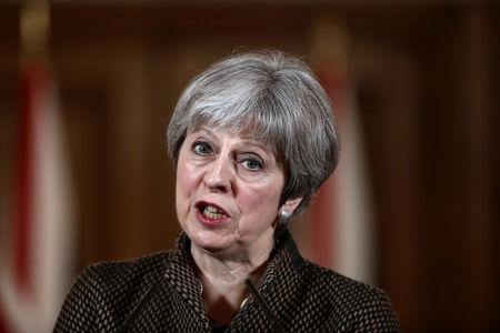 Britain's Prime Minister Theresa May attends a press conference in 10 Downing Street, London, April 14, 2018. REUTERS/Simon Dawson/Pool