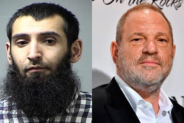 New York terror attack suspect Sayfullo Saipov and former movie producer Harvey Weinstein.