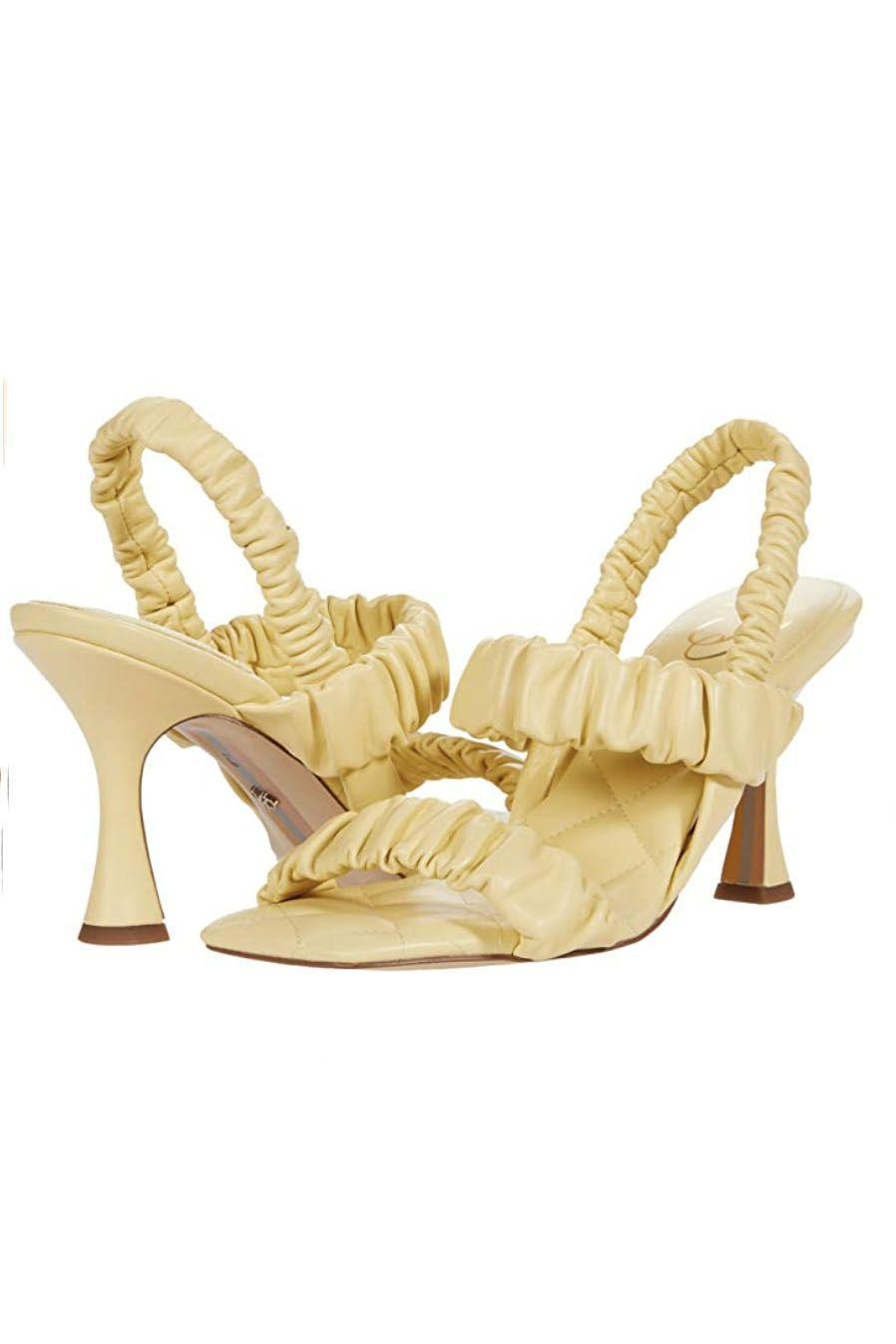"""<p><strong>Sam Edelman</strong></p><p>amazon.com</p><p><strong>$139.95</strong></p><p><a href=""""https://www.amazon.com/dp/B08VGK9Y3D?tag=syn-yahoo-20&ascsubtag=%5Bartid%7C10049.g.36746335%5Bsrc%7Cyahoo-us"""" rel=""""nofollow noopener"""" target=""""_blank"""" data-ylk=""""slk:Shop Now"""" class=""""link rapid-noclick-resp"""">Shop Now</a></p><p>You can never have too many heels, and these adorable ruched sandals make a strong case for adding another pair. I mean how? Cute?</p>"""