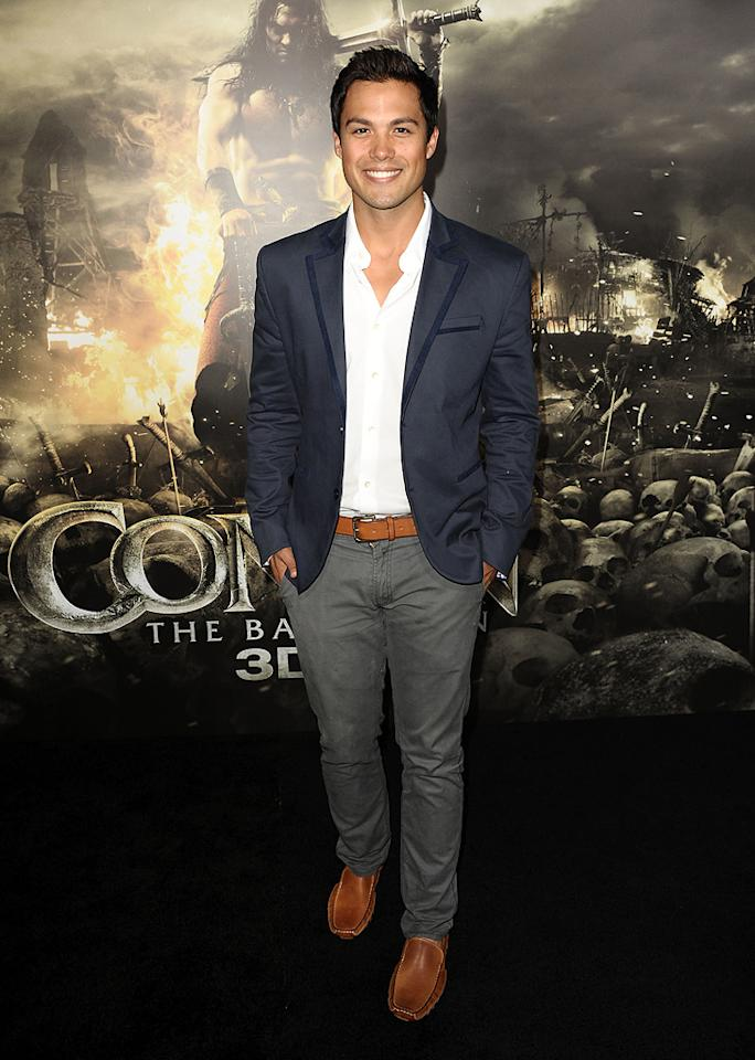 "<a href=""http://movies.yahoo.com/movie/contributor/1808668544"">Michael Copon</a> at the Los Angeles premiere of <a href=""http://movies.yahoo.com/movie/1809953260/info"">Conan the Barbarian</a> on August 11, 2011."