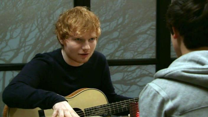 """<p>Ed Sheeran has made a few cameos on television shows in the past, (and recently, on <em>Game of Thrones</em>), but most notable on daytime TV was his appearance on Australian soap opera, <em>Shortland Street</em>, in 2014. He was <a href=""""https://www.billboard.com/articles/news/7872864/ed-sheeran-cameos-tv-movies-game-of-thrones-videos"""" rel=""""nofollow noopener"""" target=""""_blank"""" data-ylk=""""slk:in New Zealand"""" class=""""link rapid-noclick-resp"""">in New Zealand</a> promoting his album <em>X</em> when he stopped by the set of the show to do a brief cameo as himself. In a short scene, he confronts the character Kane to help give him perspective on a bad situation. </p>"""