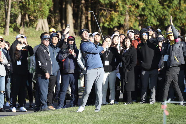 Brooks Koepka of the United States watches his shot on the 10th hole during the first round of the CJ Cup PGA golf tournament at Nine Bridges on Jeju Island, South Korea, Thursday, Oct. 18, 2018. (Park Ji-ho/Yonhap via AP)
