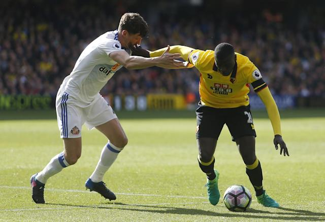 <p>Watford's M'Baye Niang in action with Sunderland's Billy Jones </p>