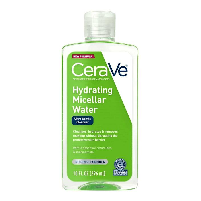 <p>Not only will the <span>CeraVe Hydrating Micellar Cleansing Water</span> ($10) remove makeup, but it's also formulated with ceramides to replenish any moisture you might lose while washing.</p>