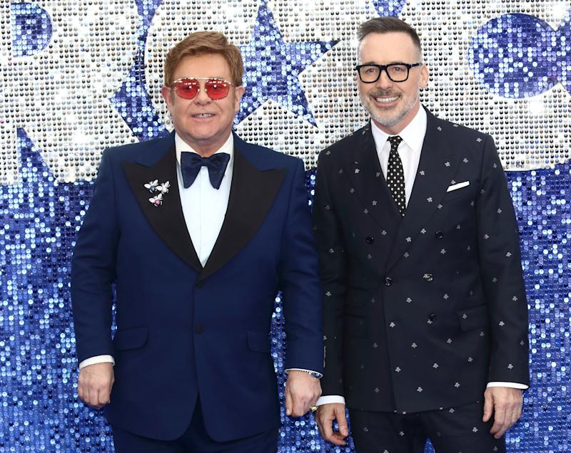 LONDON, UNITED KINGDOM - 2019/05/20: Elton John and David Furnish attend the UK Premiere of Rocketman at the Odeon Luxe, Leicester Square. (Photo by Keith Mayhew/SOPA Images/LightRocket via Getty Images)
