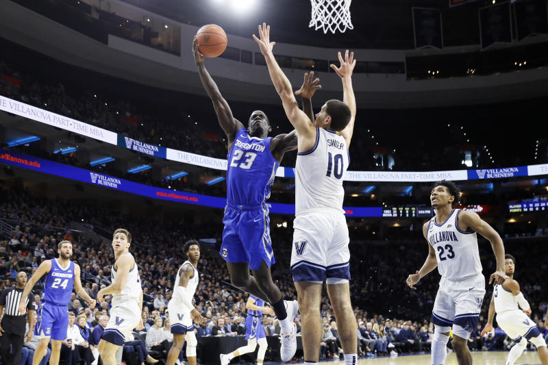 Creighton's Damien Jefferson (23) goes up for a shot against Villanova's Cole Swider (10) during the second half of an NCAA college basketball game, Saturday, Feb. 1, 2020, in Philadelphia. (AP Photo/Matt Slocum)