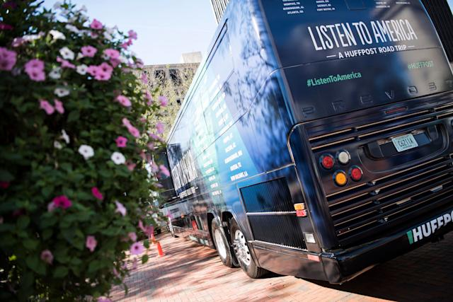 The HuffPost tour bus sits in Cascade Plaza during HuffPost's visit to Akron, Ohio.