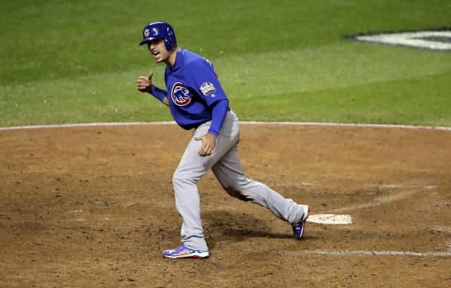 <p>Chicago Cubs' Albert Almora Jr.reacts after scoring on Ben Zobrist's RBI double during the 10th inning of Game 7 of the Major League Baseball World Series against the Cleveland Indians Wednesday, Nov. 2, 2016, in Cleveland.(AP Photo/Gene J. Puskar) </p>