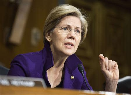 File photo of U.S. Senator EWarren questioning Federal Reserve Vice Chair Yellen during a Senate Banking Committee confirmation hearing in Washington