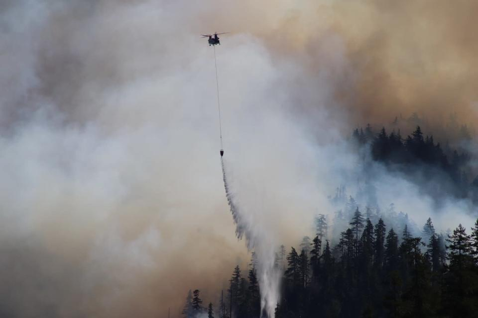 In this Sept. 3, 2020, photo provided by the Opal Creek Ancient Forest Center, fire retardant is dropped at Jawbone Flats in the Opal Creek Wilderness in Oregon. Oregonians are grieving the loss of some of their most treasured natural places after wildfires wiped out campgrounds, hot springs and wooded retreats that have been a touchstone for generations in a state known for its unspoiled beauty. (Augustus Gleason/Opal Creek Ancient Forest Center via AP)