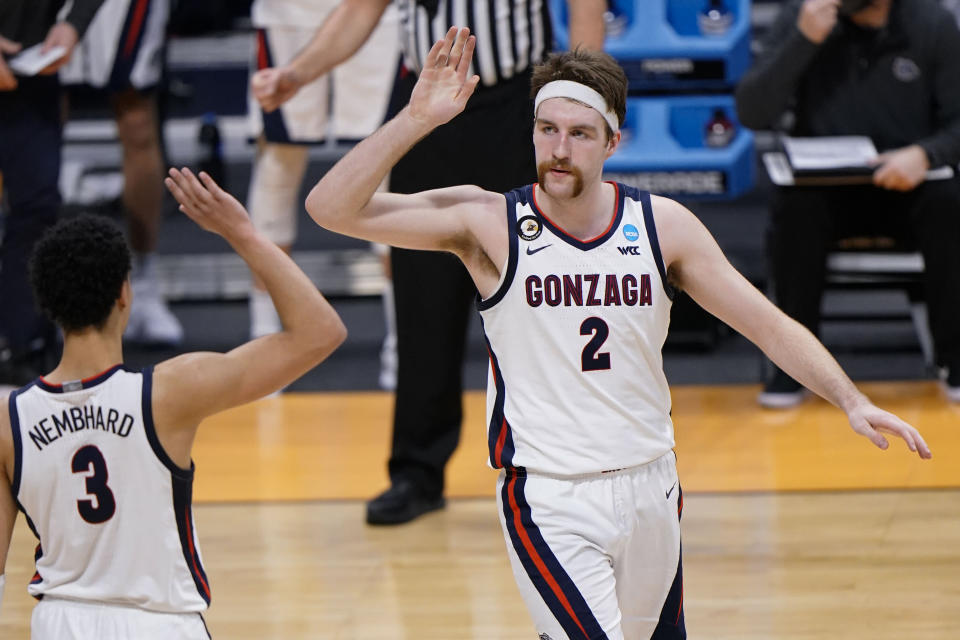 Gonzaga forward Drew Timme (2) reacts to being fouled while shooting while playing Oklahoma in the second half of a college basketball game in the second round of the NCAA tournament at Hinkle Fieldhouse in Indianapolis, Monday, March 22, 2021. (AP Photo/AJ Mast)