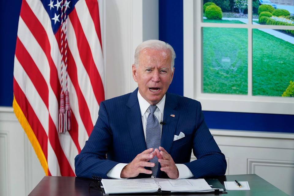 President Joe Biden speaks during a virtual COVID-19 summit during the 76th Session of the United Nations General Assembly, in the South Court Auditorium on the White House campus, Wednesday, Sept. 22, 2021, in Washington.