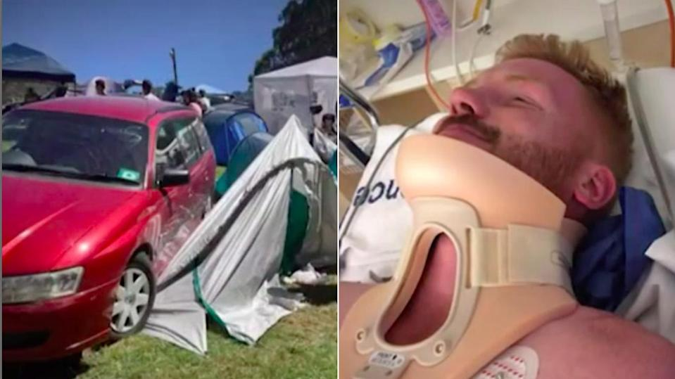 Andrew Pepper is lucky to be alive after being crush beneath a car that slid down a hill as he slept inside a tent at the Falls Festival in Lorne. Source: 7News