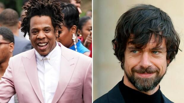 Musician and entrepreneur Jay-Z, left, appears alongside Square and Twitter CEO Jack Dorsey. Dorsey's financial technology company Square is acquiring Jay-Z's music streaming service Tidal for $297 million US, according to a Thursday press release. (Getty Images/The Associated Press - image credit)