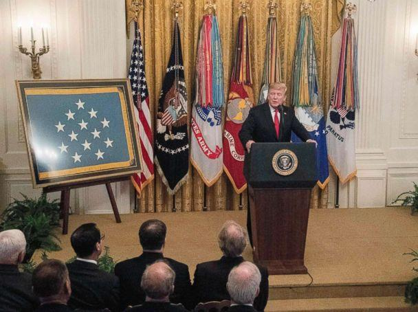 PHOTO: President Donald Trump addresses a Congressional Medal of Honor Society reception at the White House in Washington, DC, Sept. 12, 2018. (Nicholas Kamm/AFP/Getty Images, FILE)