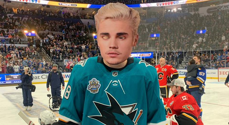"""This image of """"Justin Bieber"""" might haunt you in your dreams. (Via/NHL)"""