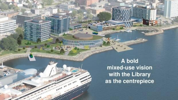 Harbour Royale Development proposed a $32-million library for Sydney's waterfront, but CBRM council voted down a design study, saying the cost was too high. (Harbour Royale Development Ltd. - image credit)
