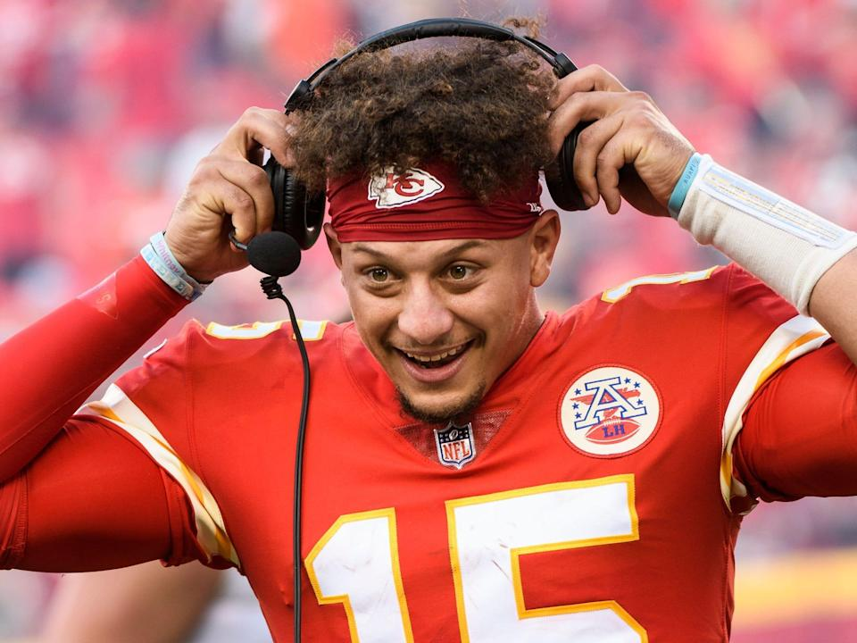 Patrick Mahomes prepares for an interview after win against the Cleveland Browns.